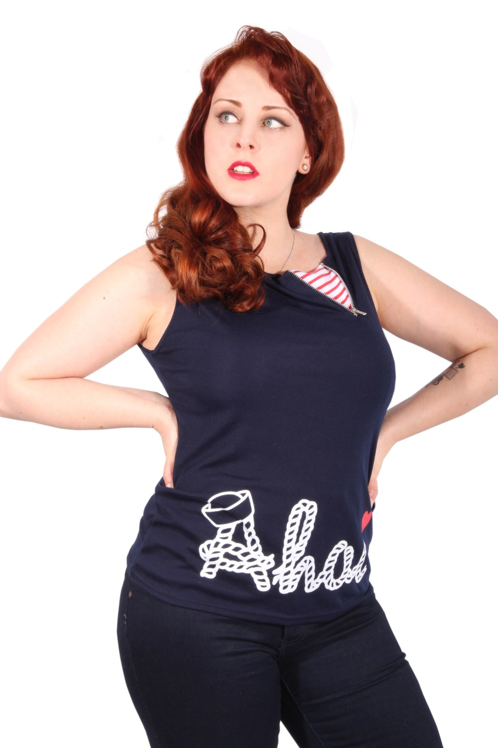 Sailor Marine U-Boot pin up Ahoi Anker rockabilly Shirt Zipper TOP