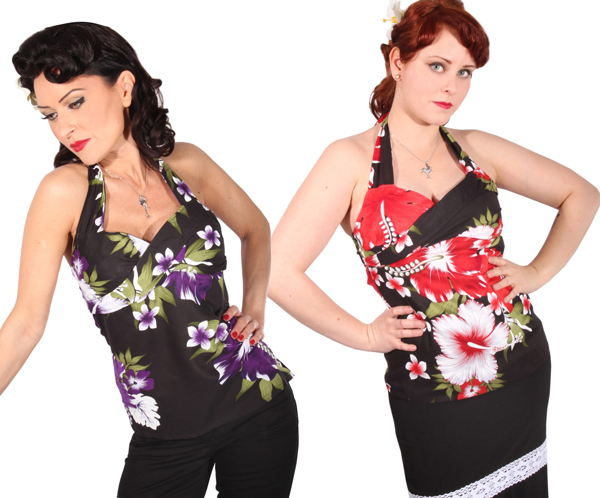 Hawaii pin up Hibiskus Neckholder rockabilly Hibiskusblüten Corsagen Top