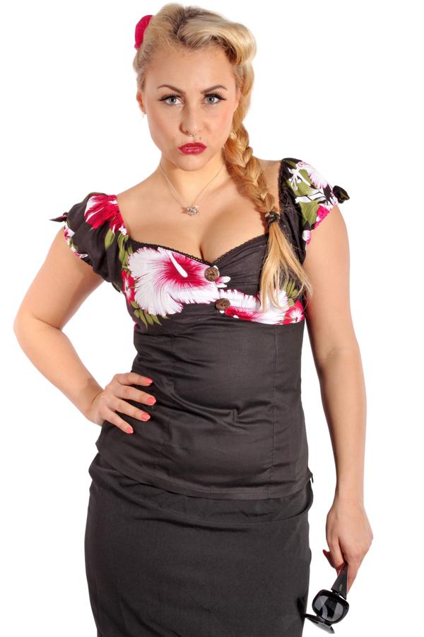 Hawaii rockabilly Hibiskus Blüten Carmen Kokosnuss Puffärmel Shirt TOP