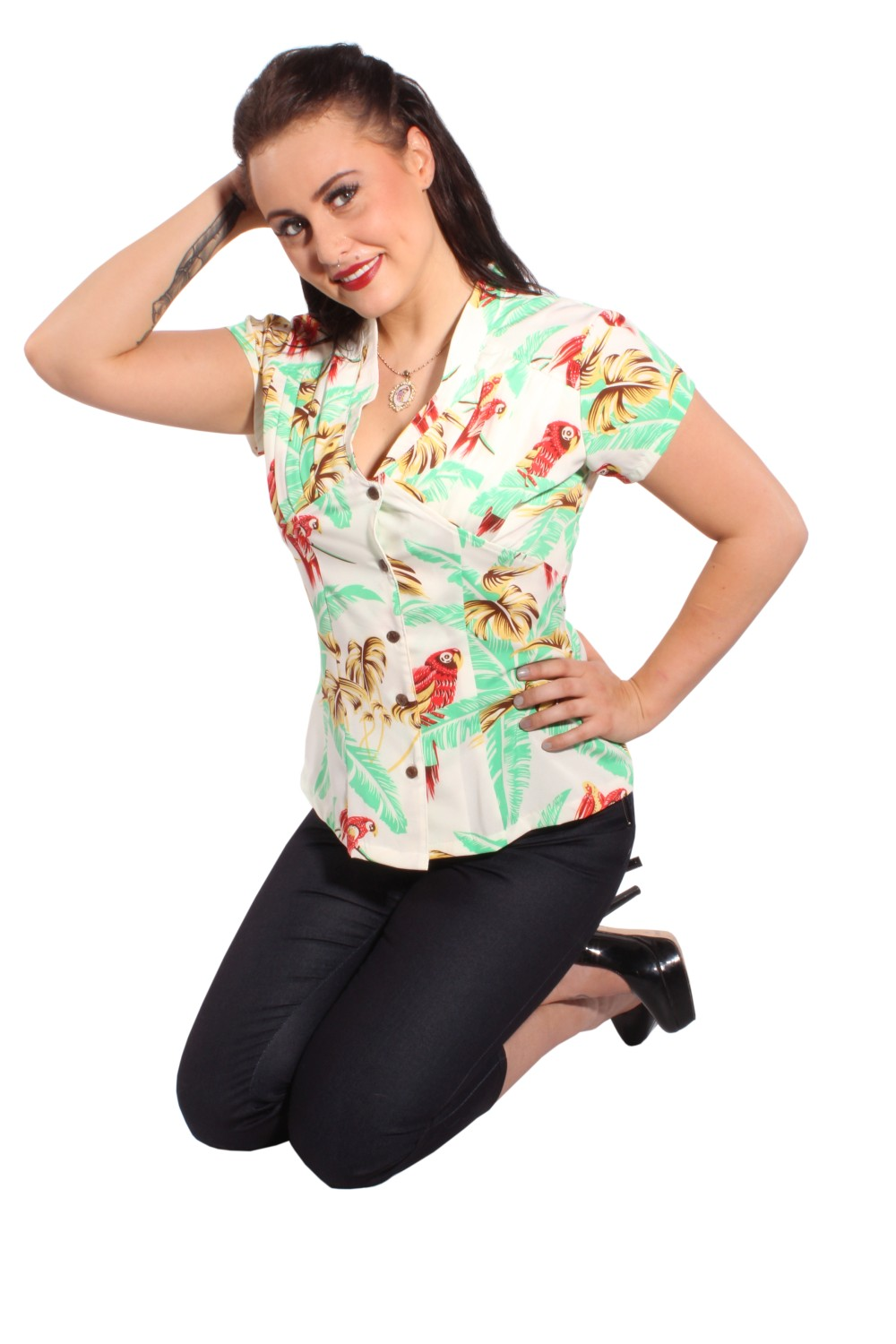40s HAWAII PIN UP retro rockabilly Papagei Palmen Plissee Bluse