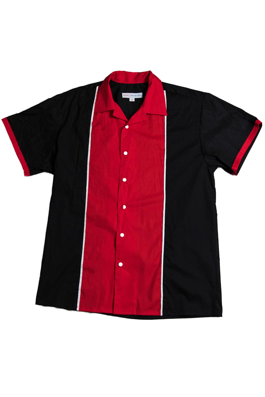 50s rockabilly Lounge BOWLING Shirt Hemd Bowlinghemd schwarz rot