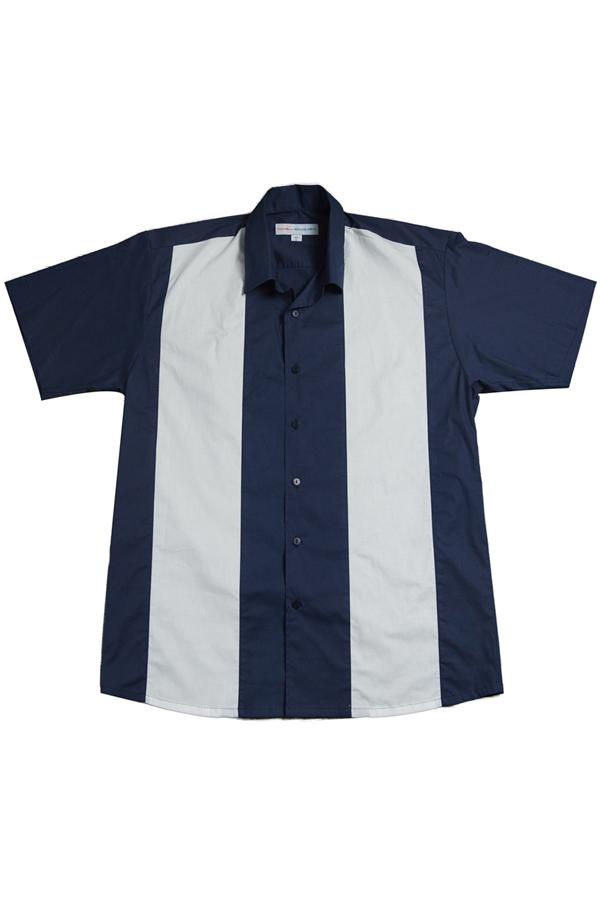 50er Jahre rockabilly Panel BOWLING Hemd retro Bowlinghemd Shirt blau