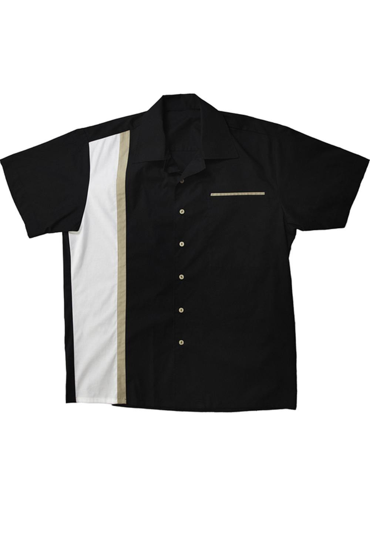 50er Panel rockabilly Lounge Shirt BOWLING Hemd schwarz-weiß-beige