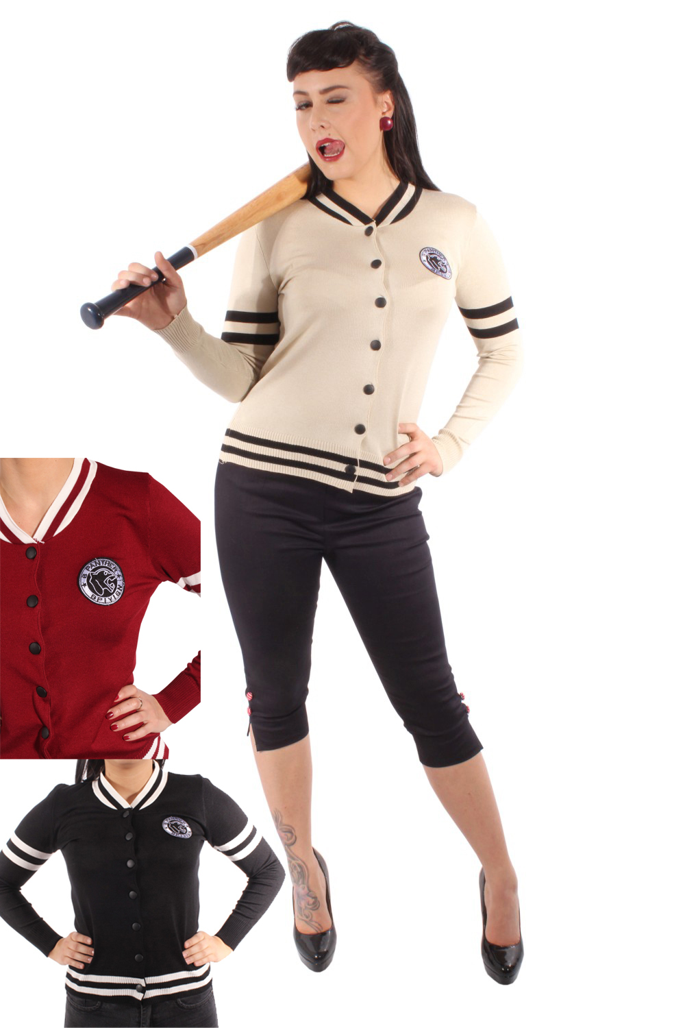 Retro 50er rockabilly Baseball Strickweste College Cardigan