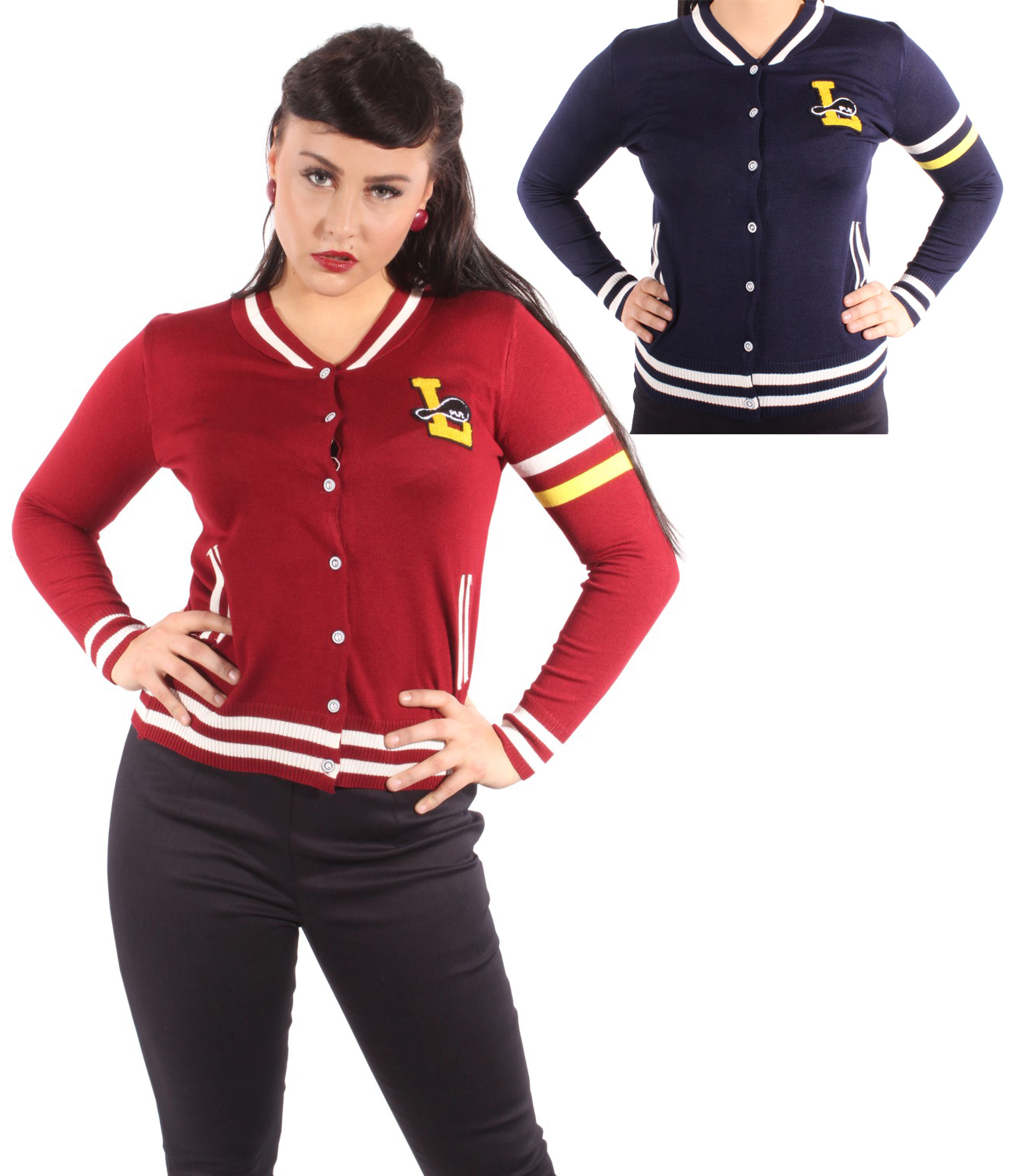 Retro Bowling rockabilly Baseball Strickweste Logo College Cardigan