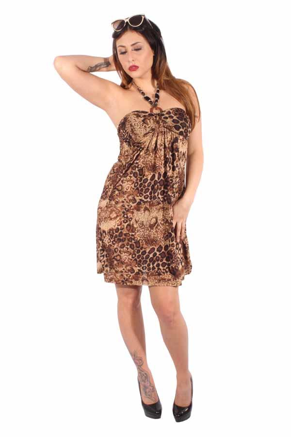rockabilly LEO Strand Kleid Leoparden Neckholder Holz Perlen Strandkleid