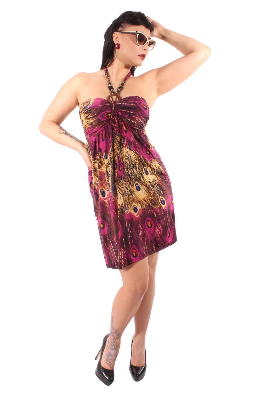 rockabilly Pfau Peacock Neckholder Holz Perlen Strandkleid Kleid