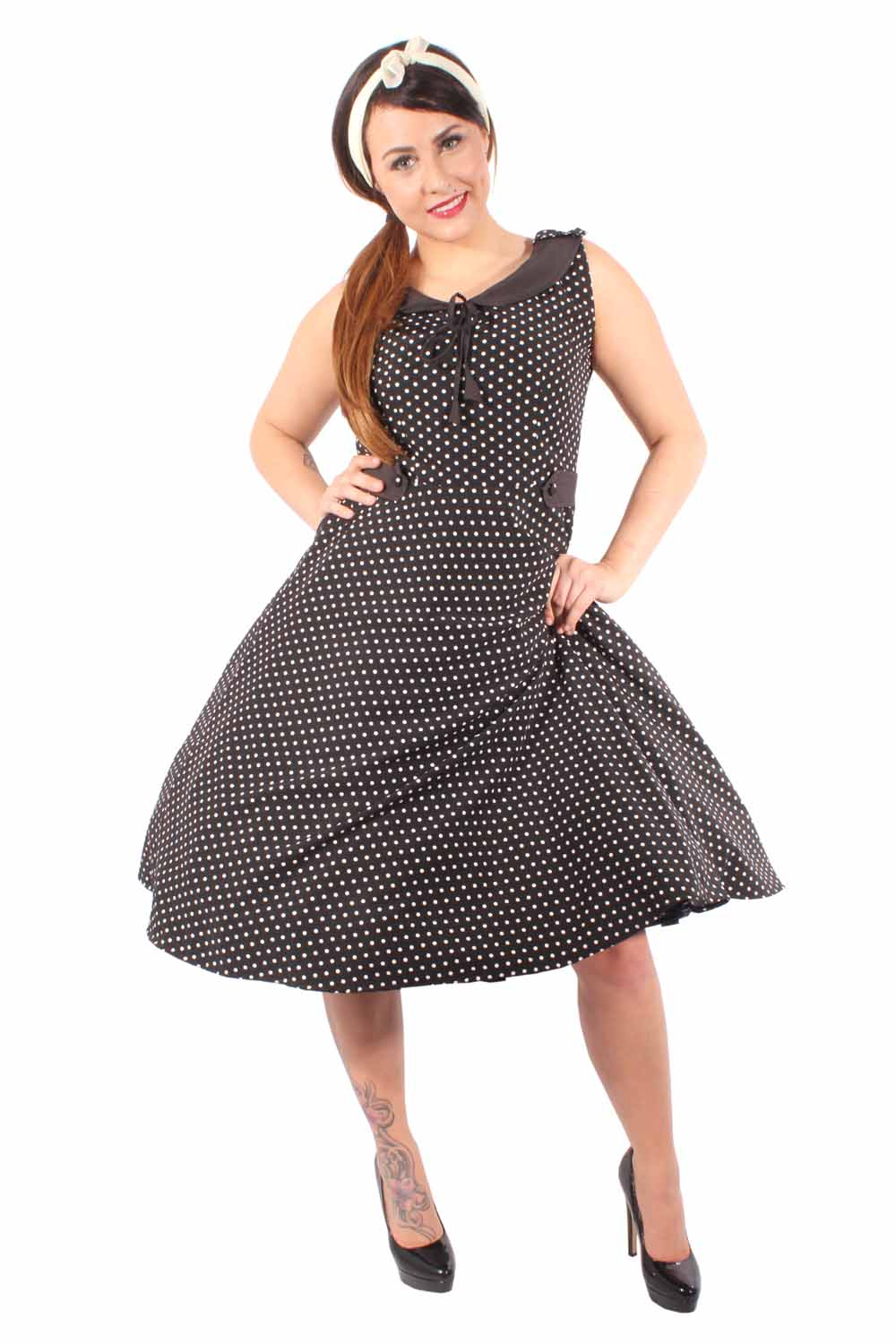 50er Swing RETRO rockabilly POLKA DOTS Zierklappen Vintage Kleid