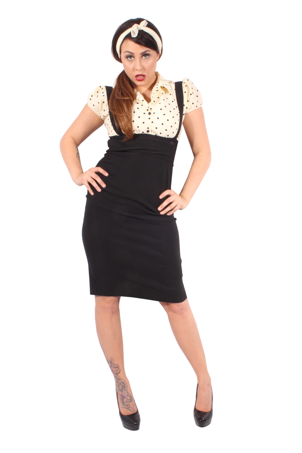 Polka Dots retro rockabilly Punkte Hosenträger Hemdkleid Pencil Kleid