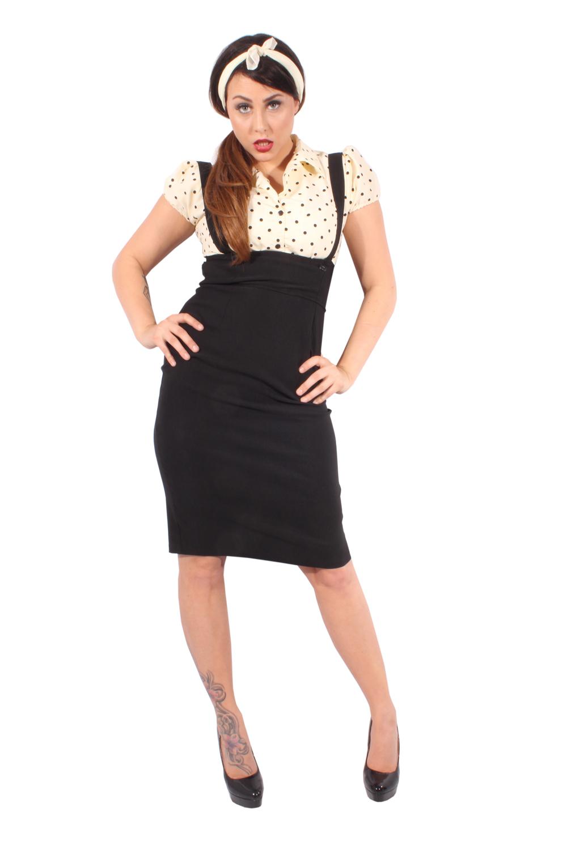 Polka Dots retro rockabilly Punkte Hosenträger Hemdkleid Pencil Kleid