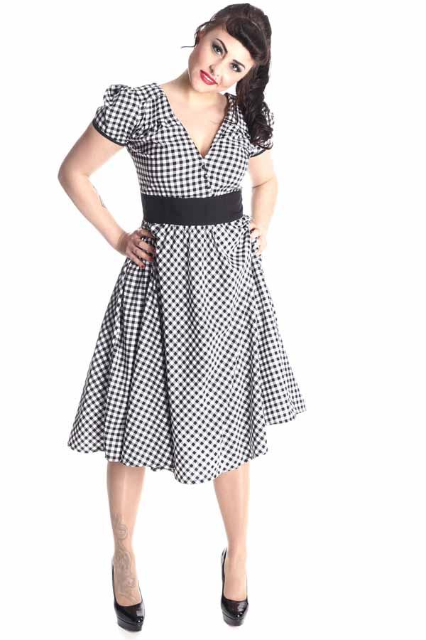 50er rockabilly Gingham retro Karo Swing Kleid Petticoatkleid