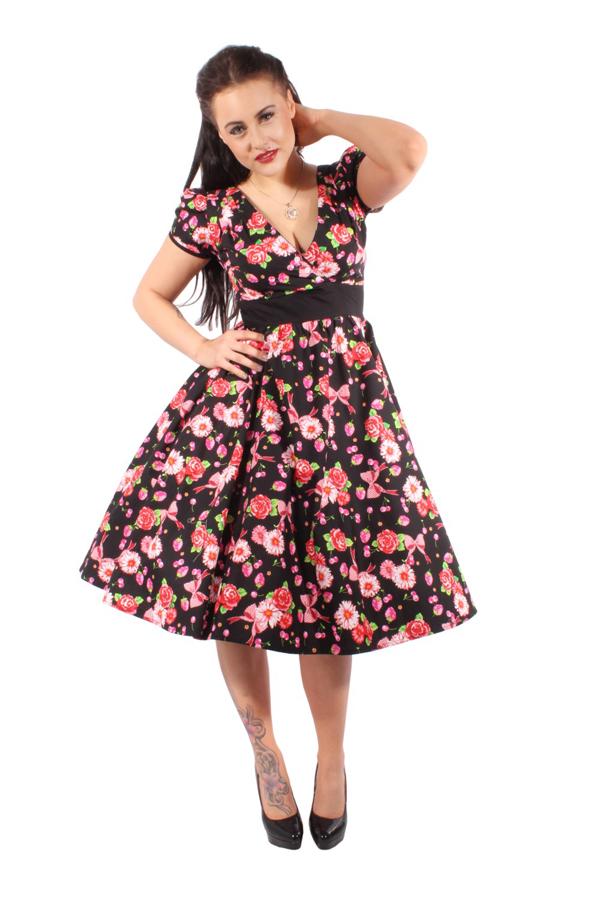 Rockabilly Blumen retro Erdbeer Cherry Swing Kleid Petticoatkleid
