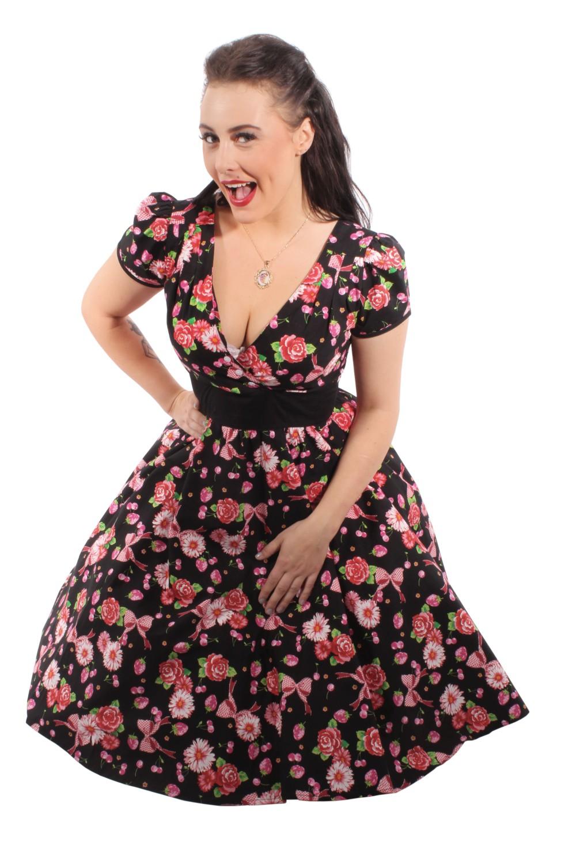 rockabilly blumen retro erdbeer cherry swing kleid petticoatkleid. Black Bedroom Furniture Sets. Home Design Ideas
