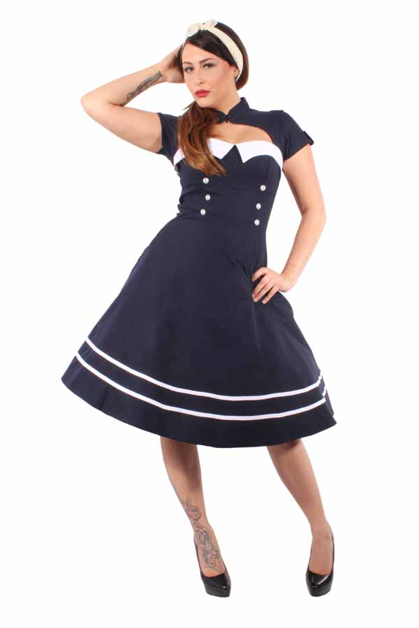 Pin Up SAILOR Retro rockabilly Bolero SWING Kleid Petticoatkleid blau