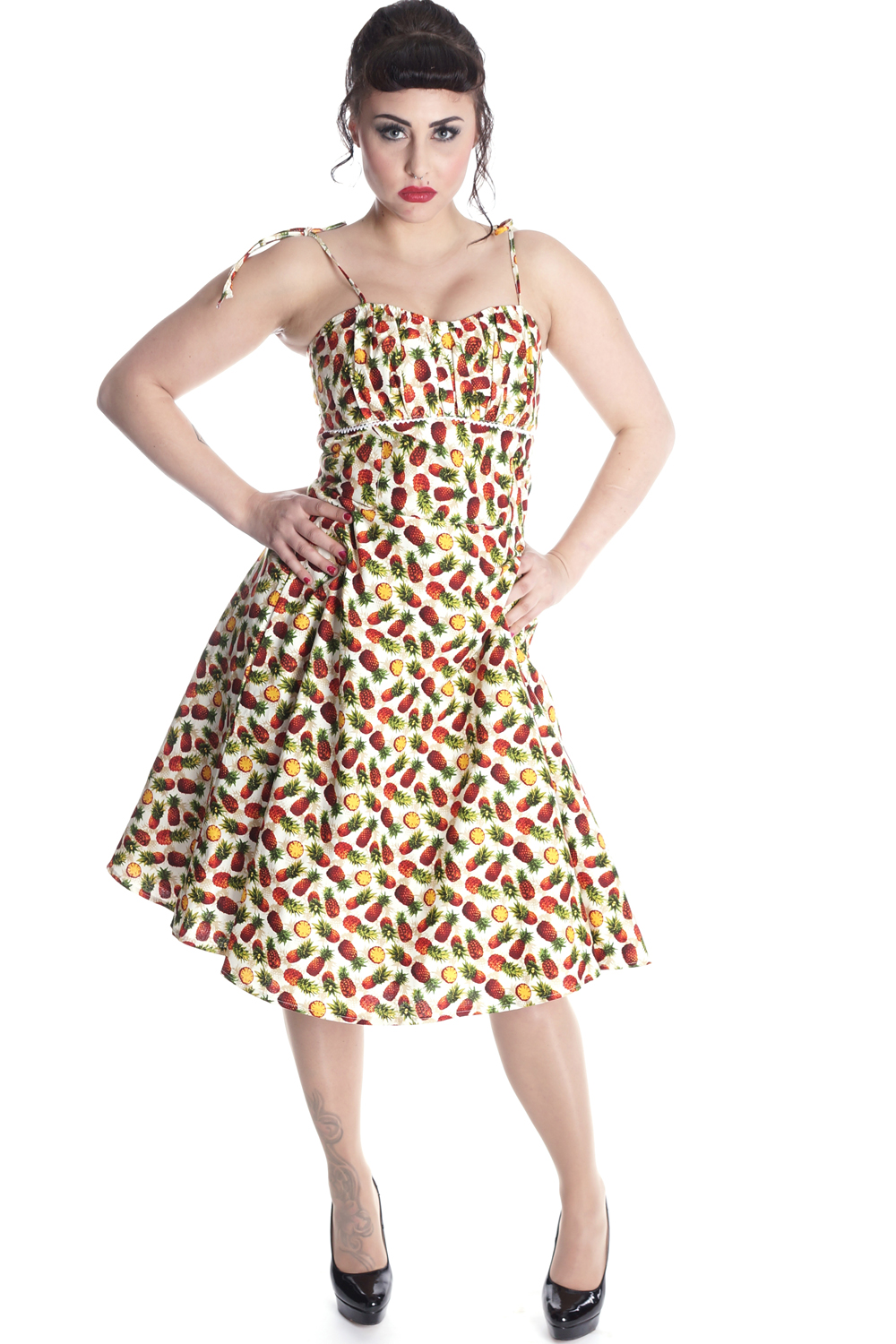 Hawaii Ananas rockabilly retro Sommer Swing Träger Kleid Petticoatkleid