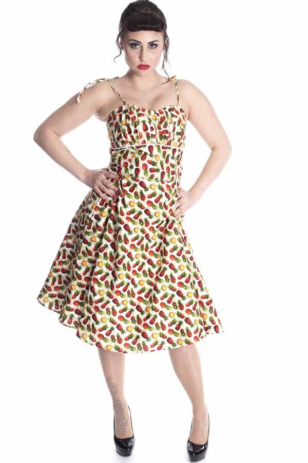 Hawaii Ananas rockabilly retro Sommer Swing Träger Kleid Petticoatkleid