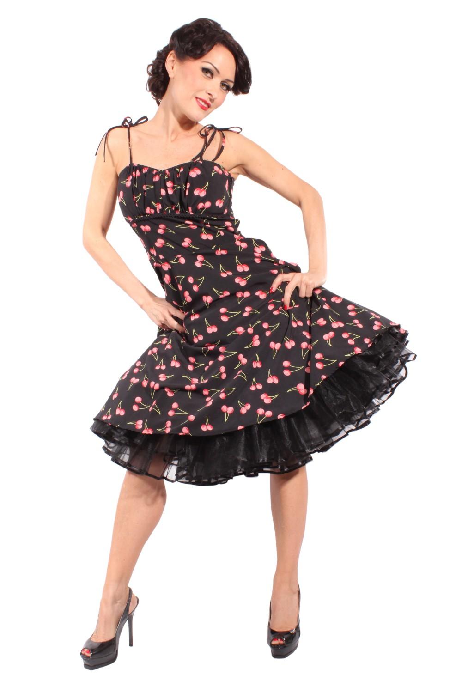 Cherry rockabilly retro Kirschen Sommer Swing Träger Kleid Petticoatkleid