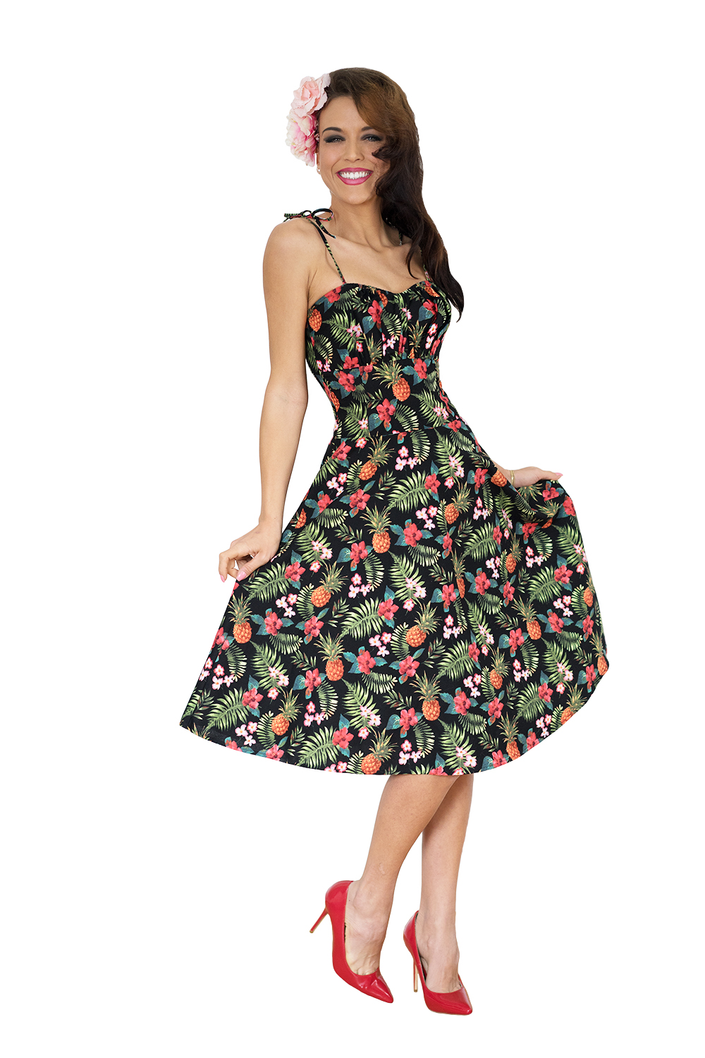 Hawaii Flower rockabilly retro Hibiskus Swing Kleid Petticoatkleid