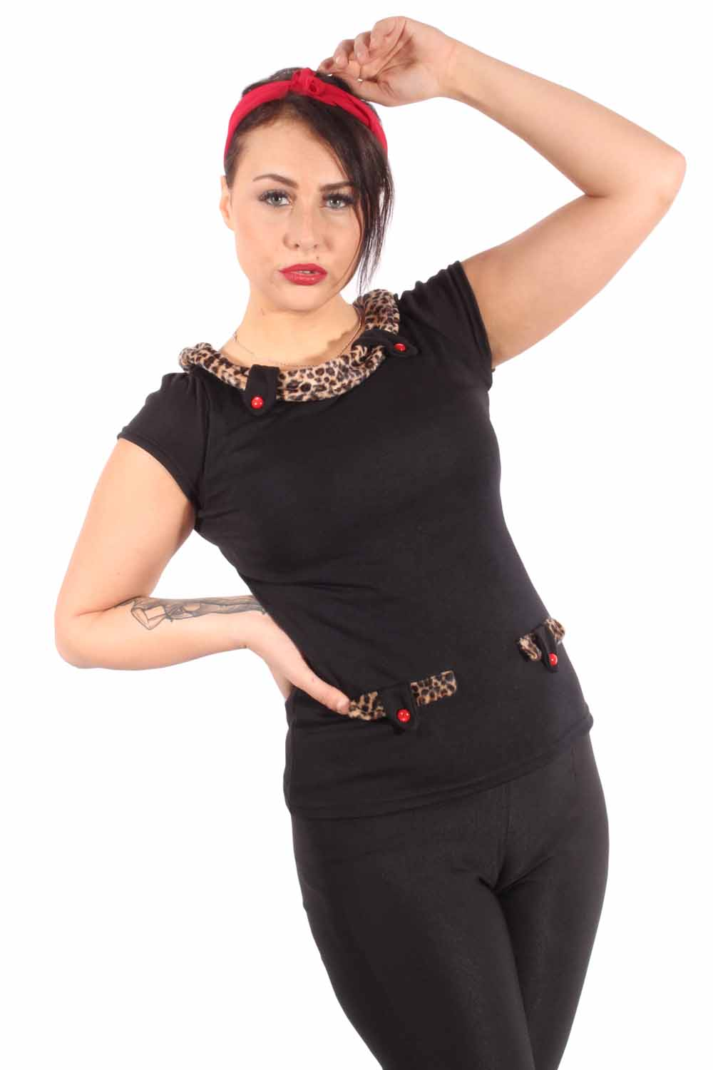Fifties Leoparden pin up Rockabilly retro Leo Puffärmel T-Shirt
