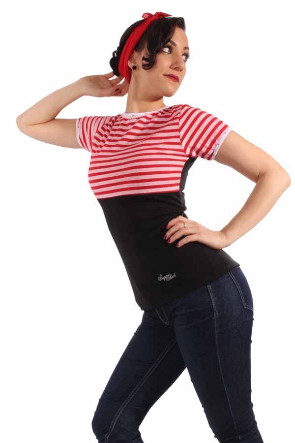 50s Streifen pinup Rockabilly Polka Dots Shirt Rückenfrei schwarz