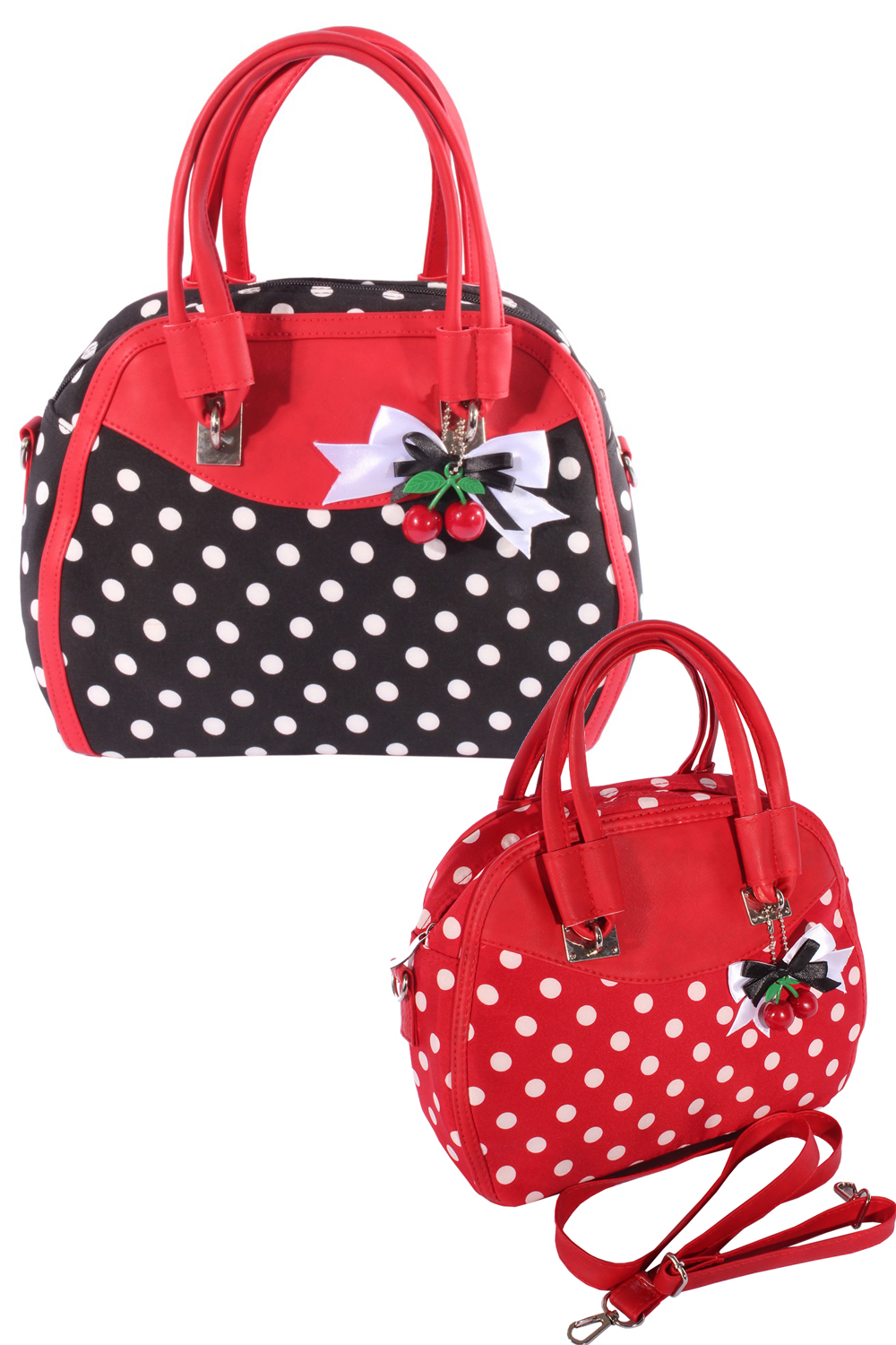 Fifties POLKA DOTS rockabilly Cherry Bow Handtasche Tasche