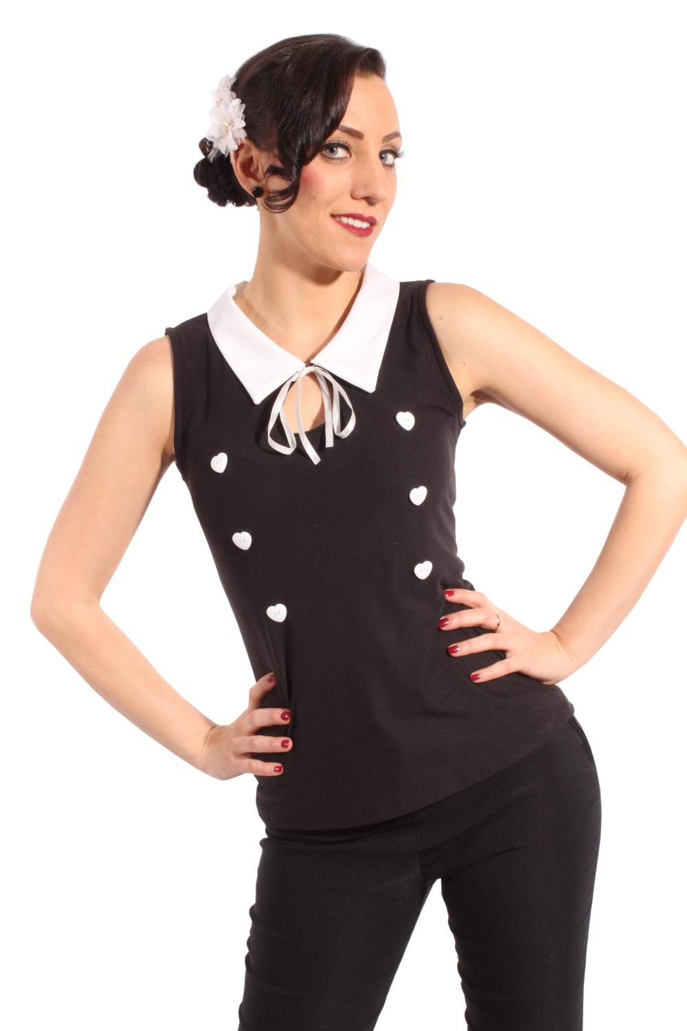Fifties pin up FRENCH MAID rockabilly retro Schlüsselloch Kragen TOP