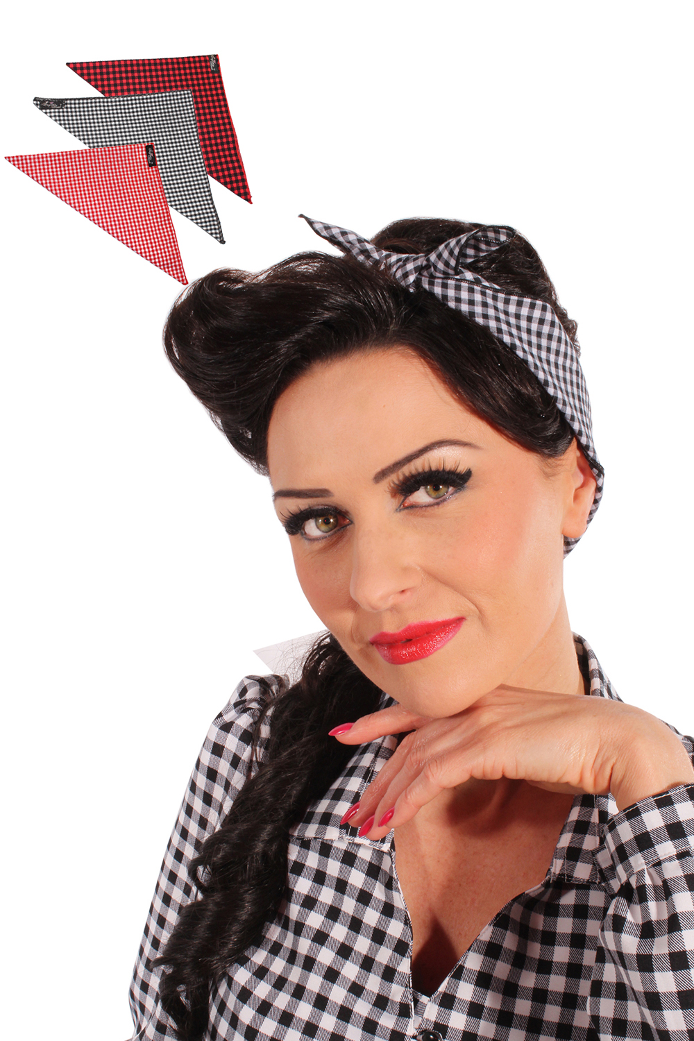 50s Gingham rockabilly pin up Tuch Karo Bandana Haarband
