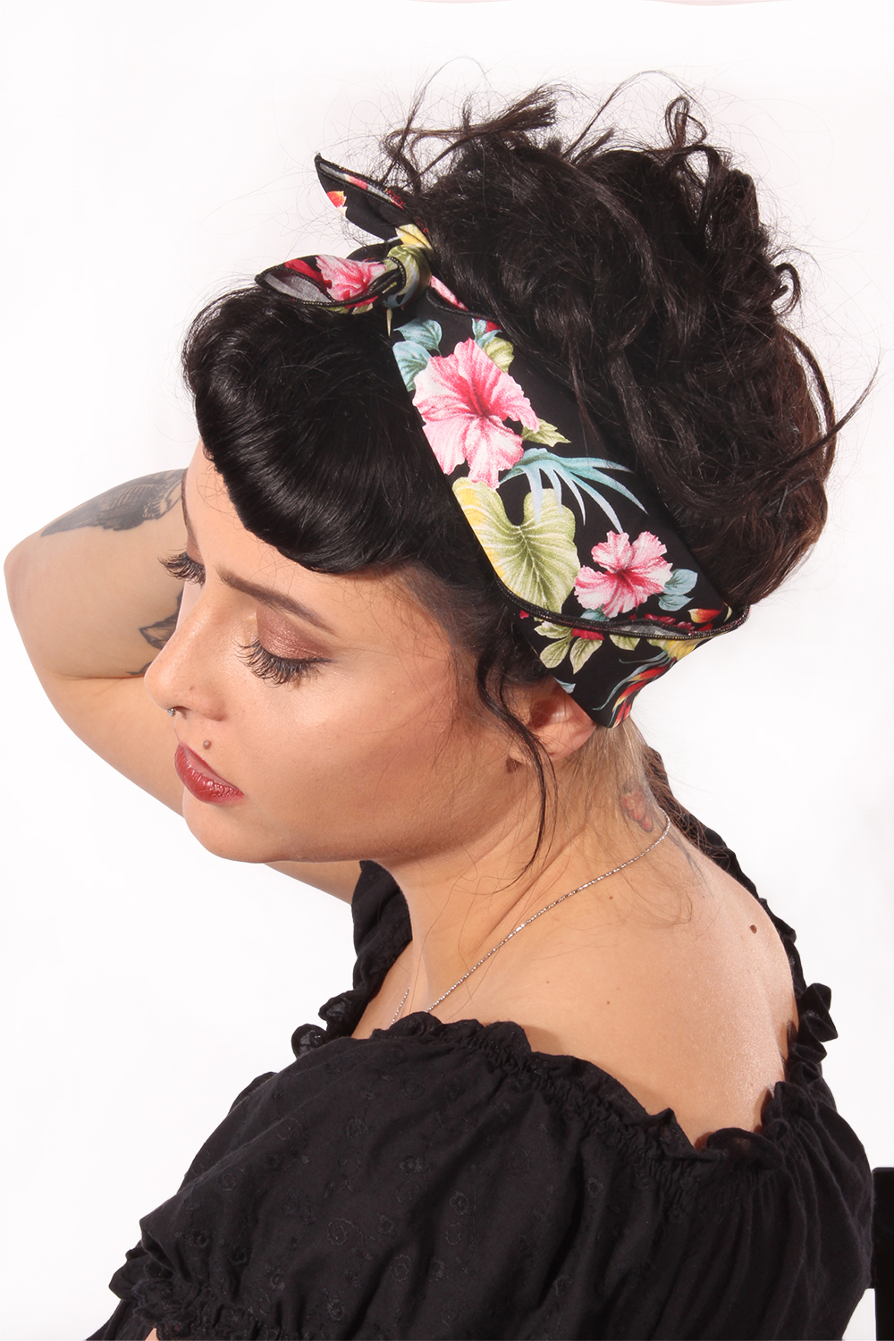 Hibiskus Hawaii rockabilly Hawaiiblüten pin up Tuch Bandana Haarband