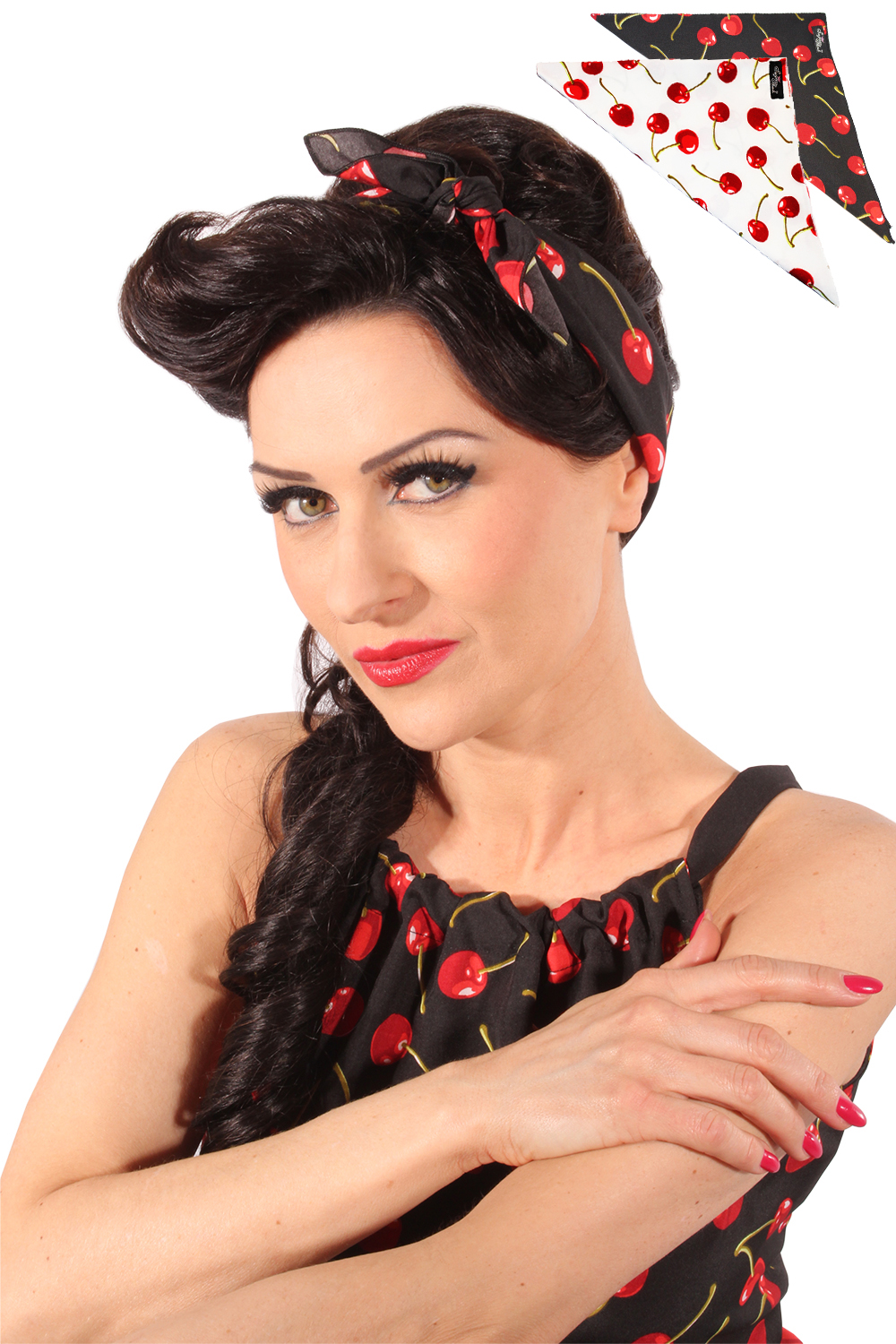 cherry rockabilly pin up tuch kirschen bandana haarband