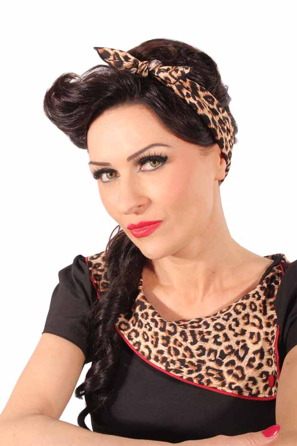 50s Leopard rockabilly punk rock pin up Tuch Leo Bandana Haarband