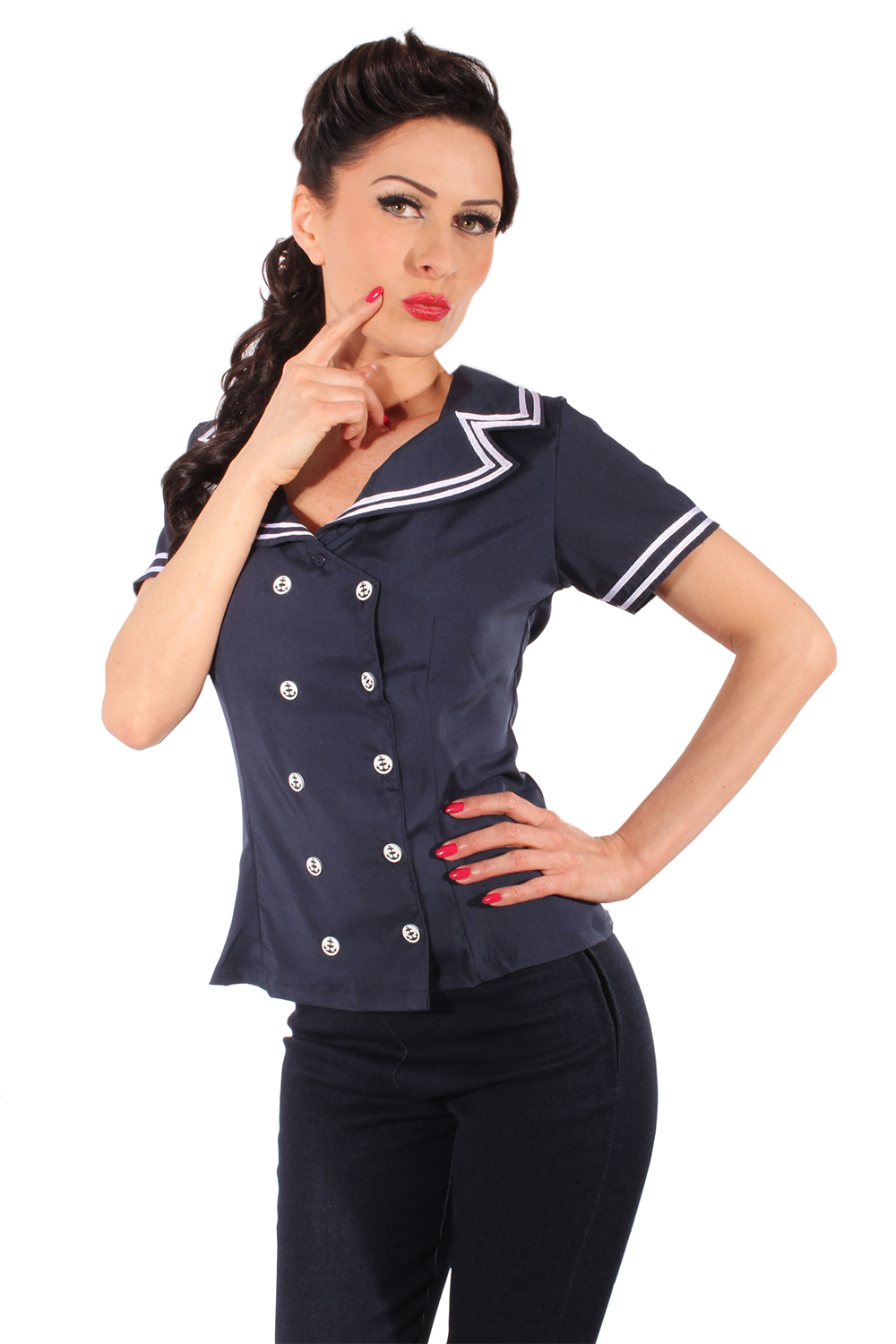 Maritime 50s Rockabilly Sailor ANKER Retro Bluse marineblau