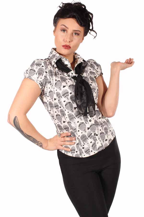 retro Rockabilly Ballons Puffärmel Tuch Schalkragen vintage Bluse