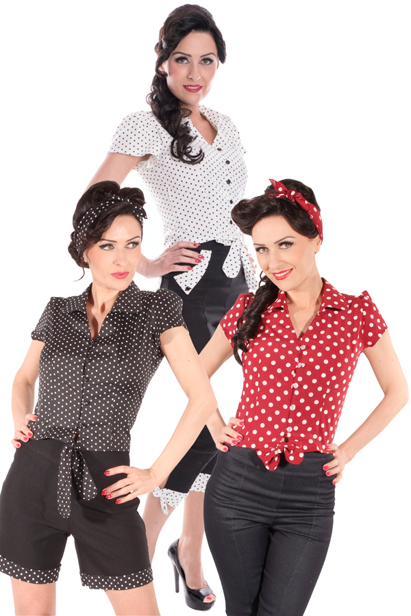 Polka Dots PIN UP retro rockabilly kurzarm Wickel Bluse Kurzbluse
