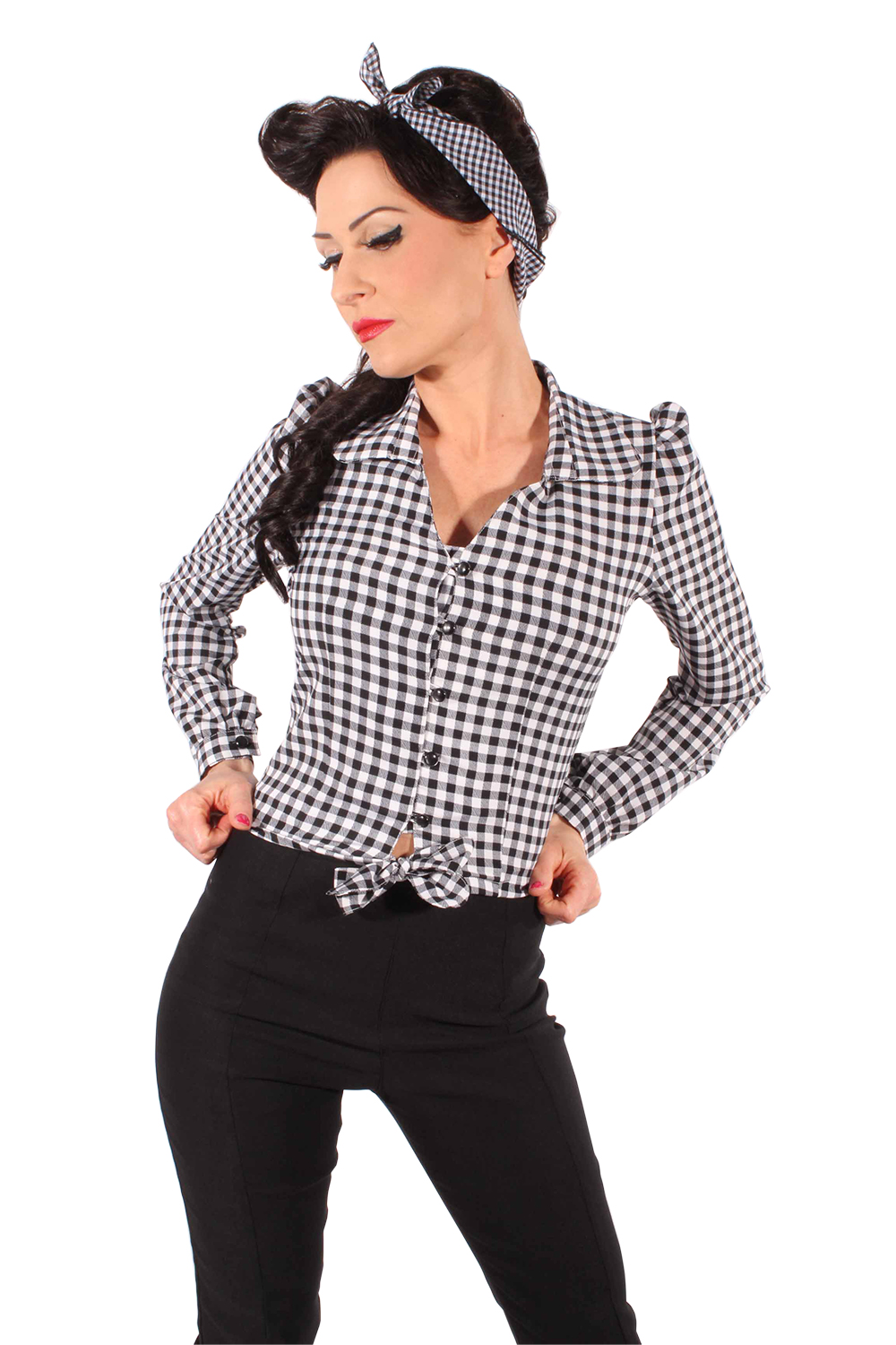 Gingham PIN UP retro rockabilly langarm Wickel Bluse Karo Kurzbluse