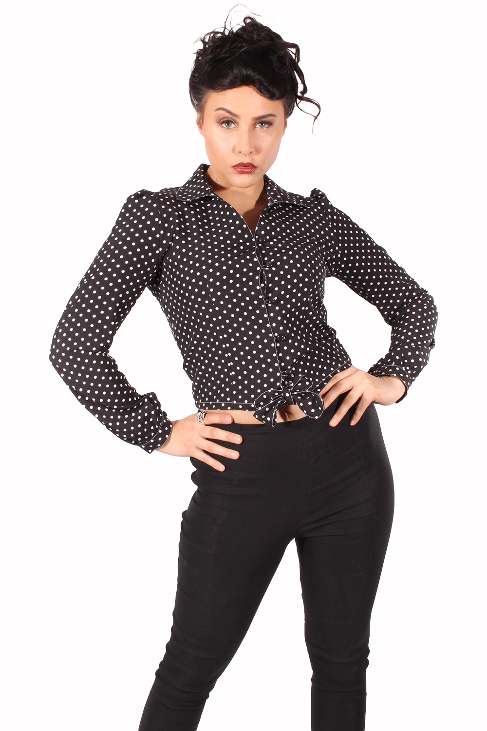Polka Dots PIN UP retro rockabilly langarm Wickel Bluse Kurzbluse