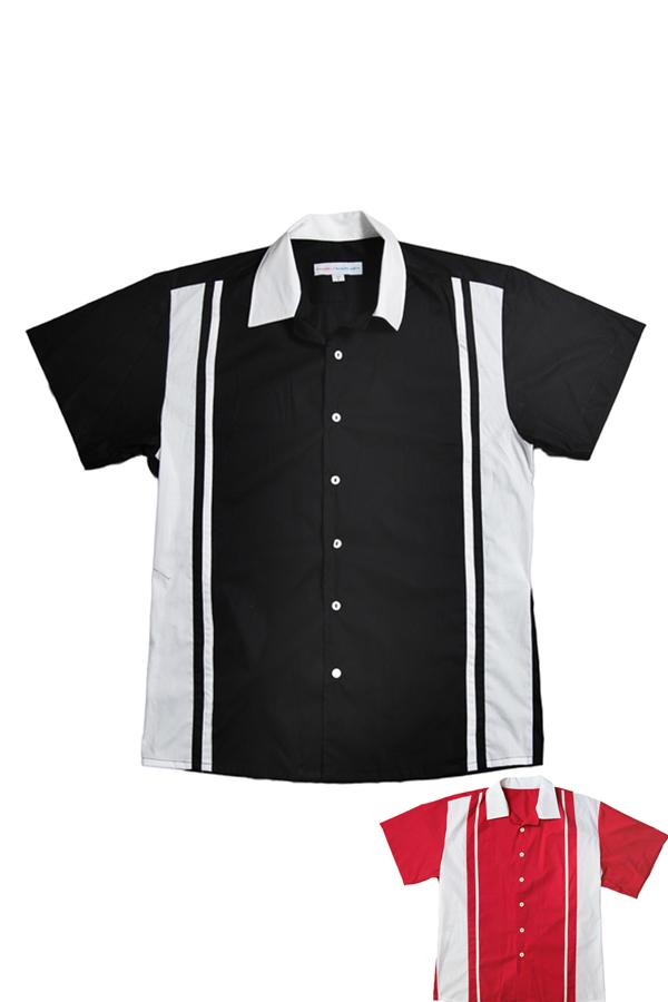 50er Jahre Panel rockabilly Lounge Shirt BOWLING Hemd schwarz