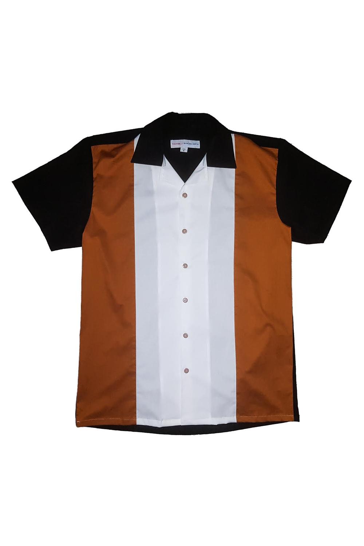 50er Jahre rockabilly Panel Lounge Shirt BOWLING Hemd schwarz braun