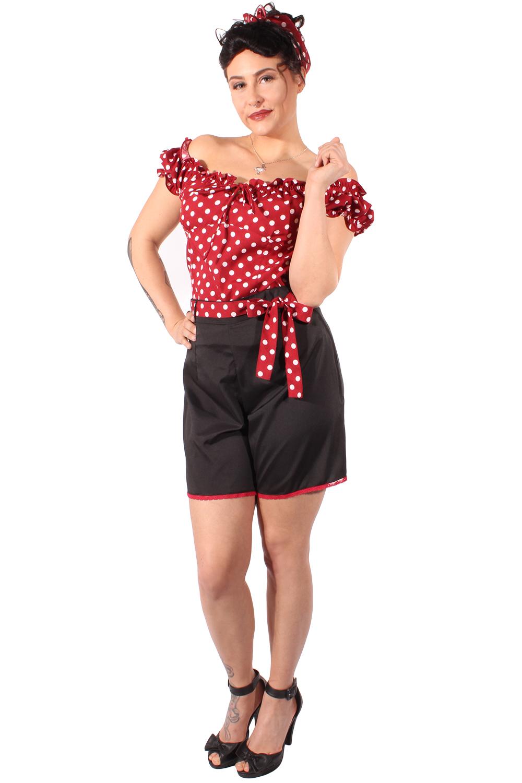 50er jahre retro rockabilly polka dots shorts hose schwarz. Black Bedroom Furniture Sets. Home Design Ideas