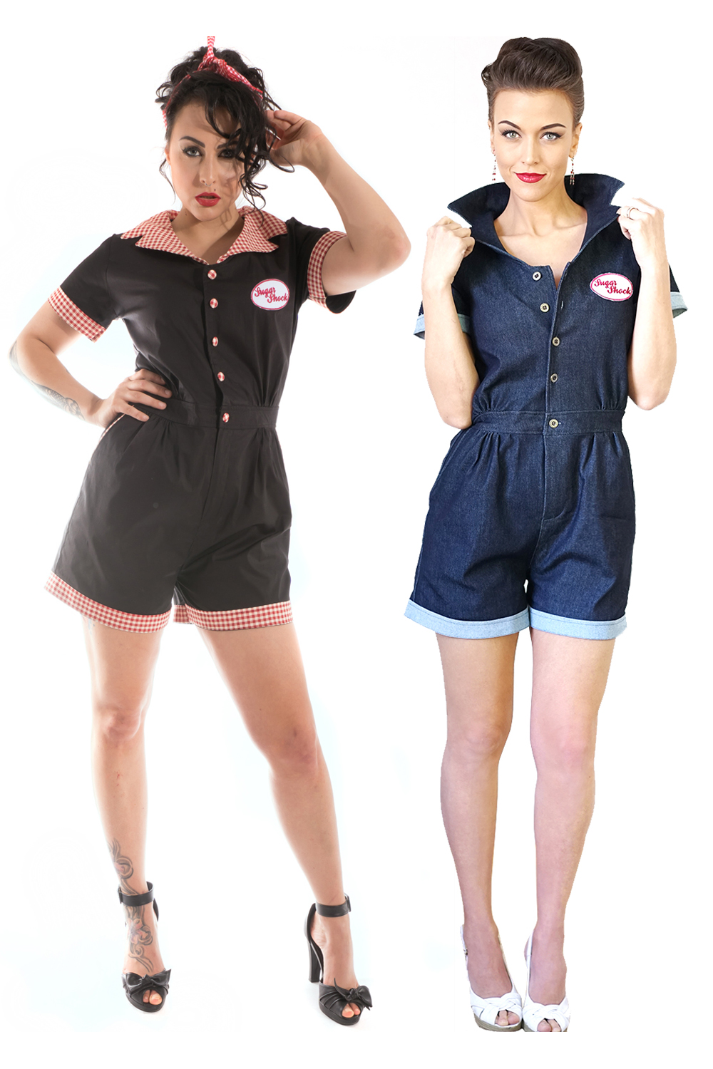 retro rockabilly Worker Style Playsuit Denim Jumpsuit Overall