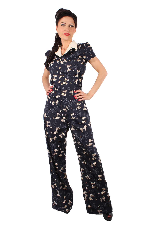 langer retro rockabilly Schleifen Overall Playsuit Bow Jumpsuit marineblau
