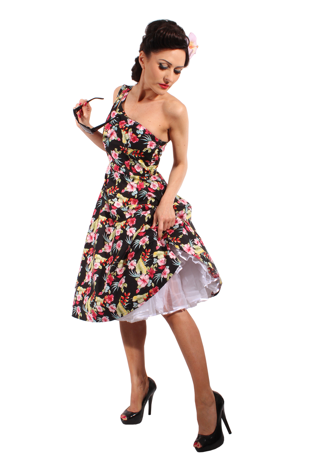 One Shoulder Hawaii Hibiskus Blüten rockabilly Kleid Petticoatkleid