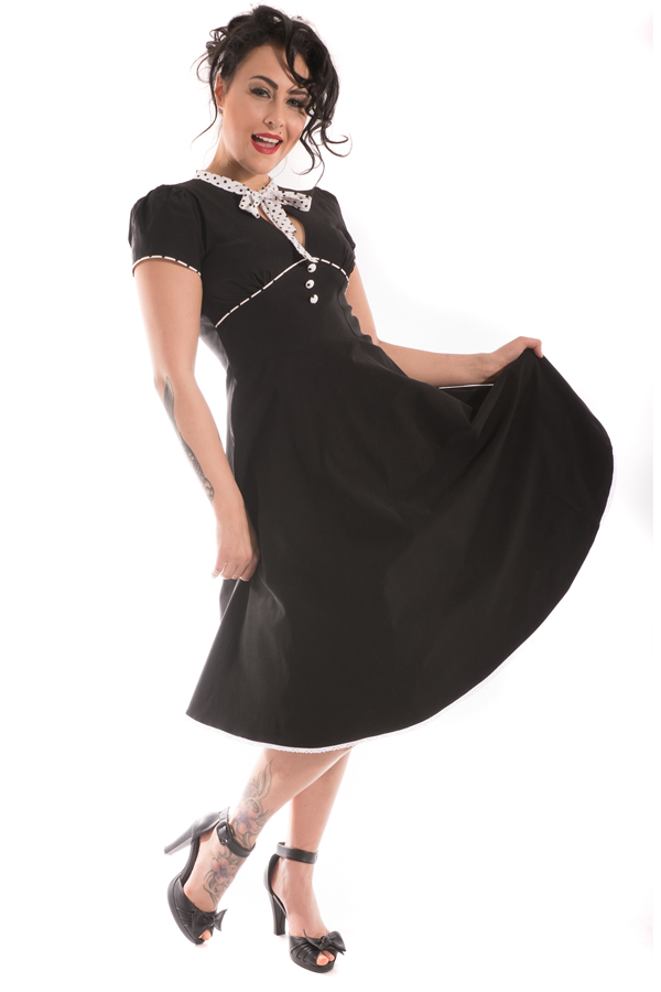 RETRO Rockabilly Polka Dots Petticoatkleid Swing Kleid Rückenfrei