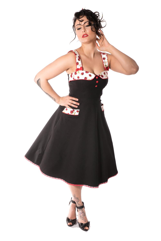 50er retro Petticoatkleid Pin Up Träger Erdbeer Swing Kleid