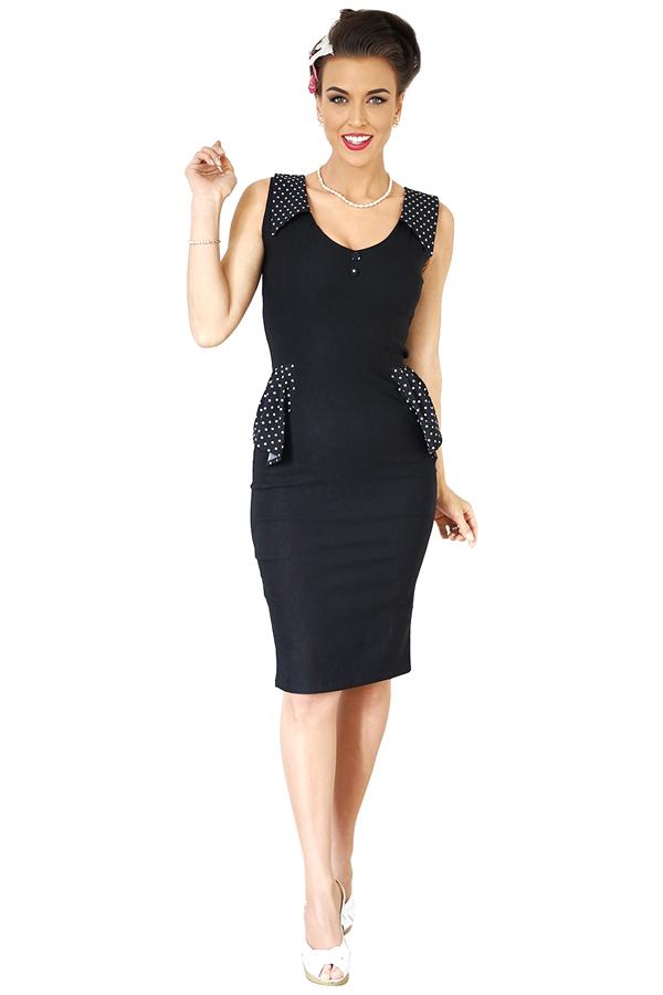 40s Schößchen Polka Dots RETRO Rockabilly Etuikleid Pencil Kleid