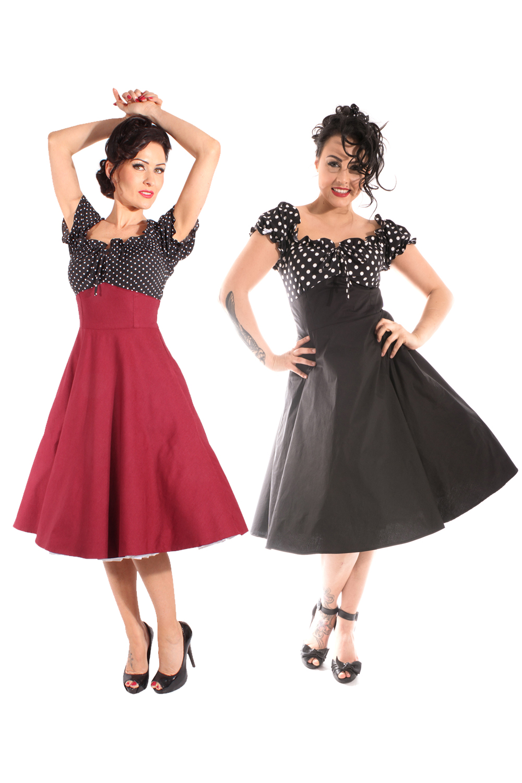 50er Polka Dots rockabilly Schleifchen Carmen Petticoatkleid Swing Kleid