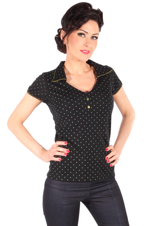 oliv Polka Dots Rockabilly retro gepunktet Poloshirt V-Ausschnitt T-Shirt