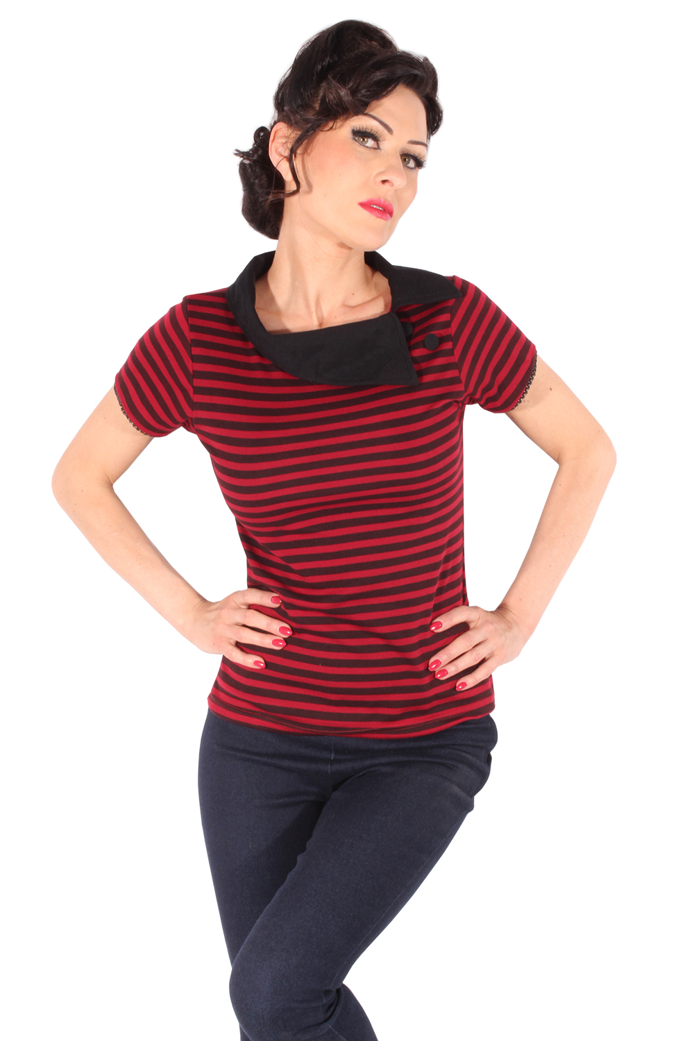 Striped Rockabilly retro Kragen punk rock Streifen T-Shirt weinrot