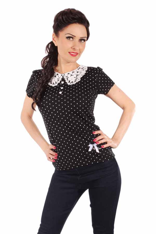 Polka Dots Rockabilly retro Häkelspitze Bubikragen Herzchen T-Shirt