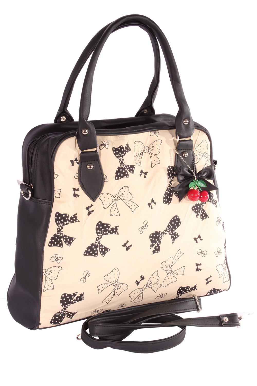 Rockabilly Dots Schleifchen Cherry Bow 50er Bowling Handtasche Tasche