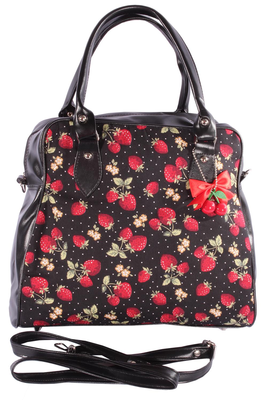 Rockabilly Erdbeeren Polka Dots Cherry Bow 50er Bowling Handtasche